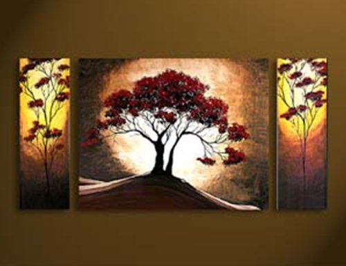 Antique Oil Painting Abstract Art Original Oil Painting For Wall Art Combination 100% Hand-Painted Landscape Graffiti Art Contemporary Wall Art A Set Of 3 Piece (8*27.5Inch*2P 27.5*31Inch*1P) Modern Art Oil Canvas Painting Decor Home Or Garden Tree And Fu front-350534