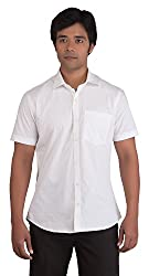 BearBerry Half Sleeve Casual White Shirt (Large)