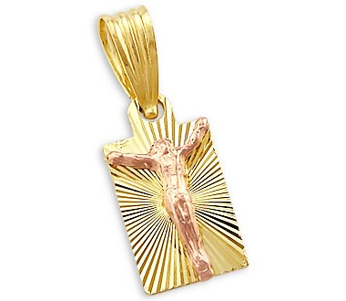 14k Yellow Rose Gold Small Jesus Crucifix Pendant Charm
