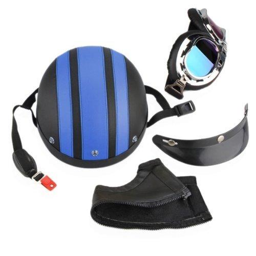 Casco-Harley-per-Moto-in-ABS-con-Occhiali-Protettivi-Visiera-Sciarpa-Nero-Blu