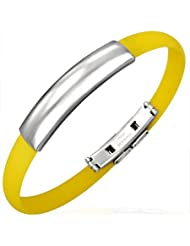 Urban Male Men's Stainless Steel & Yellow Rubber Bangle