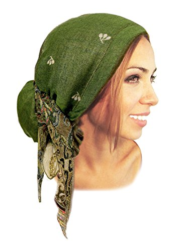 Boho Chic Pre-tied Headwear Versatile Ties Pashmina Cashmere Ethnic Print Collection (Forest Green Long - 303) (Pre Tied Tichel compare prices)