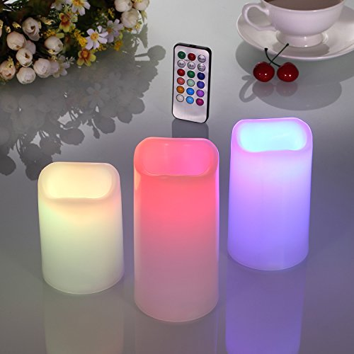 Ollieroo 3pcs Flameless LED Candle Lights 12 Color Changing with Remote Control and Timer for Wedding Party Christmas Lights