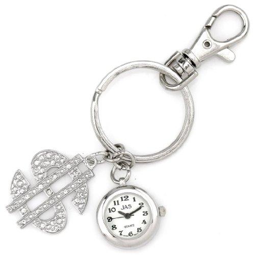 Jas Unisex Novelty Belt Fob/Keychain Watch $ Dollar Silver Tone