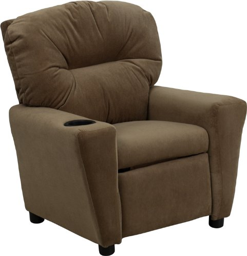 Contemporary Kids Recliner with Cup Holder BT-7950-KID-MIC-BRWN-GG