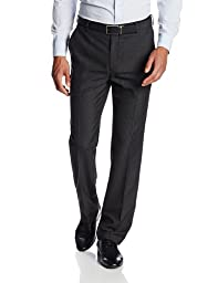 Haggar Men\'s Shadow Pin Stripe Tailored Fit Flat Front Suit Separate Pant, Black, 34Wx30L