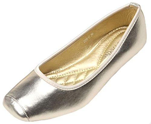 IDIFU Women's Dressy Square Toe Ballet Flats Shoes Slip On Sandals Wide