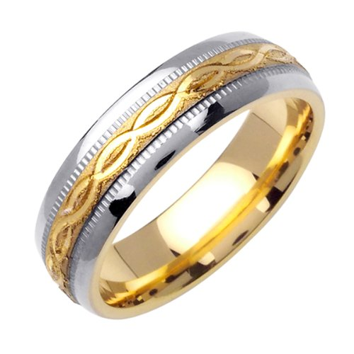 Women'S 6Mm Comfort Fit 14K 2-Tone Gold Wedding Band Ring Design In Yellow Twisted Pair In Satin Finish