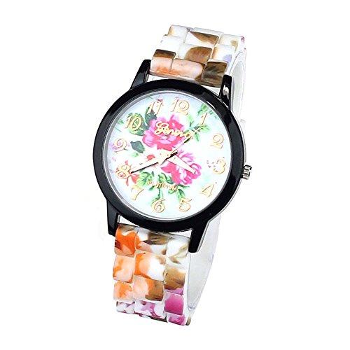 Zps(Tm) 1Pc Women Flower Printing Silicone Watch Quartz Hot Pink