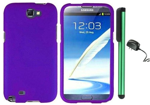 =>  Purple Design Protector Hard Cover Case for Samsung Galaxy Note II N7100 (AT&T, Verizon, T-Mobile, Sprint, U.S. Cellular) Android Smart Phone + Luxmo Brand Travel (Wall) Charger + Combination 1 of New Metal Stylus Touch Screen Pen (4