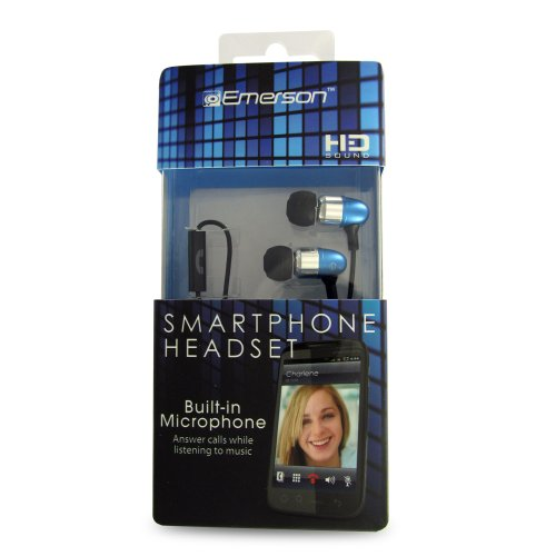 Emerson Em887Bl Stereo Headset For Iphone, Blackberry And All 3.5Mm Headset Jacks - Retail Packaging - Blue
