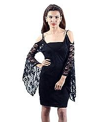 Envy Women's Blended Round Neck Dress (Black, Free Size)
