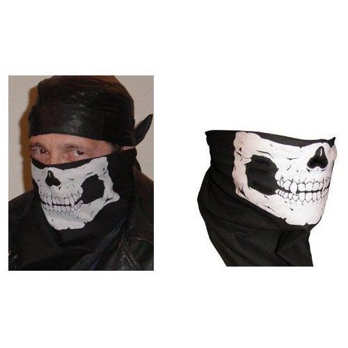 SKULL BANDANA AND SKULL TUBULAR FACE MASK COMBO- BIKER SPECIAL- 2 FOR 1 PRICE