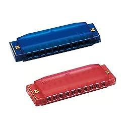 Hohner Kids Bpa Free Translucent Harmonica 2 Pack Blue & Red Harmonicas