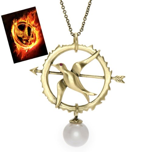 Hunger Games Inspired Jewelry: Mockingjay Necklace with Ruby CZ & Faux Pearl