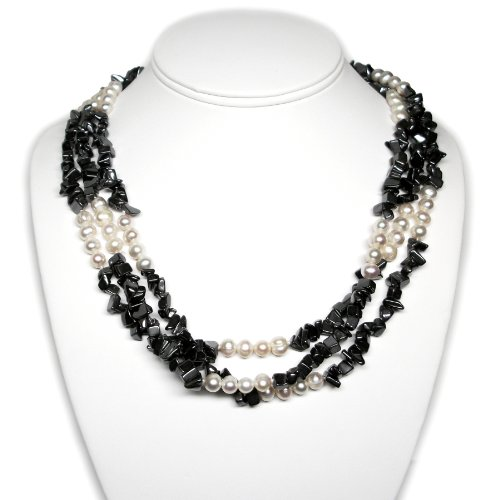 Boho Collection Triple Strand Cultured Pearl and Hemalyke Torsade Necklace (Sterling Silver)