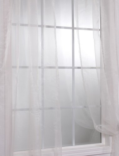 Cheap Pair 2 Panels Off White Solid Faux Organza Sheer