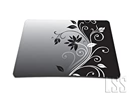 1 X Standard 7 x 9 Inch Mouse Pad - Gray Black Swirl Floral by LSS