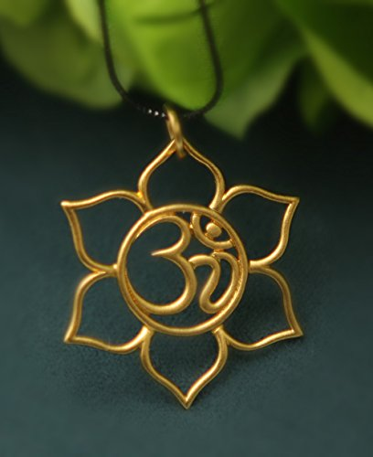 Vermeil Om and Lotus Pendant Necklace