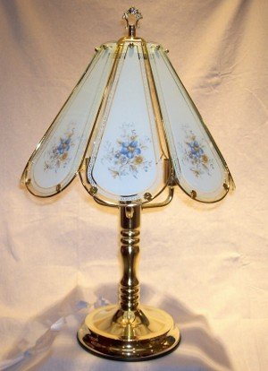 blue flowers touch lamp table lamps. Black Bedroom Furniture Sets. Home Design Ideas