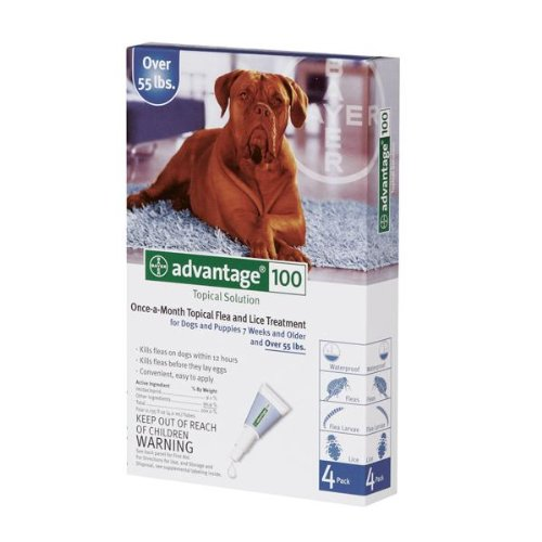 Advantage Topical Flea Treatment for Dogs over 55 Pounds, 4 Pack