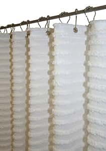 Park B.Smith Retro Stripe 72-Inch by 72-Inch Shower Curtain, White