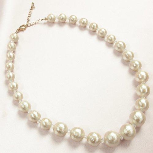 Amazon.co.jp: (B-GALLERY) コットンパールネックレス: 服&ファッション小物通販