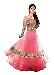Clickedia Women's Net Salwar Suit Dress Material (Pink And Multi-Coloured _Free Size)