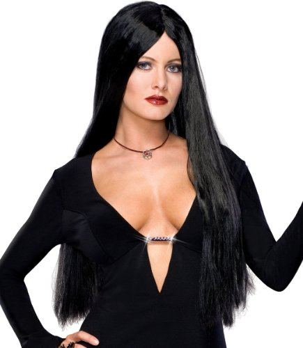 Rubies Morticia Addams Family Halloween Costume Long Black Wig