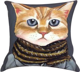 """Artiwa Funny & Cute Kitty Cat Cotton & Soft Velvet Sofa Couch Throw Decorative Pillow Case / Cover 18""""X18"""" Dark Grey front-78024"""