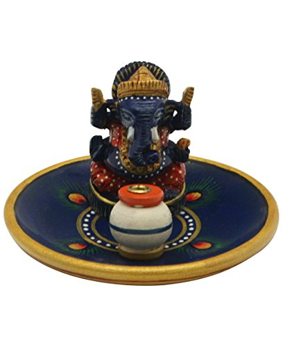 Hand Painted Blue Ganesh Incense Burner