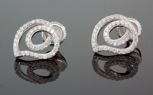 .925 Sterling Silver White Heart White Crystal Micro Pave Unisex Mens Stud Earrings