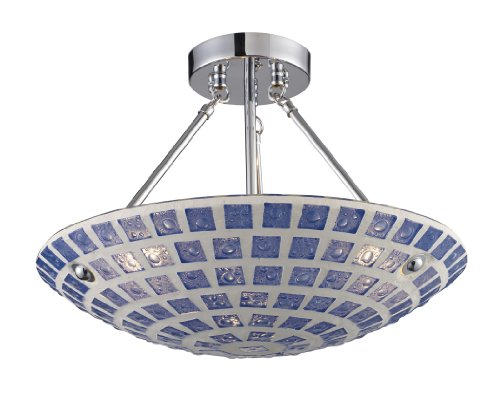 B001AZWG7O Elk 1322/3BLM 3-Light Semi-Flush In Blue