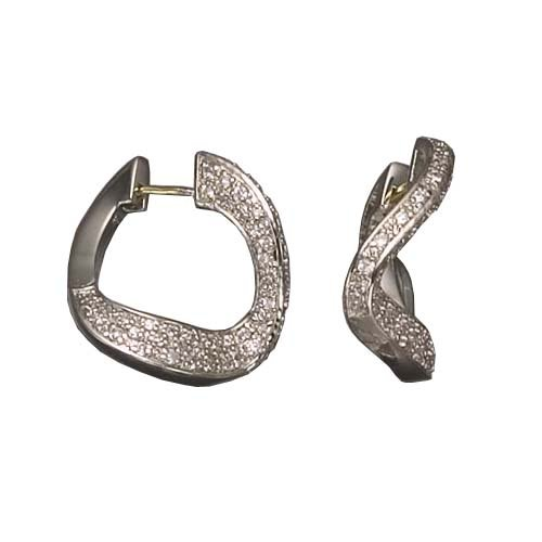 Alvery's 925 Sterling Silver Hoop Earrings Rhodium Plated Pave Set Cubic Zirconia Curved Style - Incl. ClassicDiamondHouse Free Gift Box & Cleaning Cloth