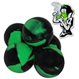 5 Black & Green Snow White Pin Combo Non Stick Silicone Ball BHO Container for Oil Crumble Honey