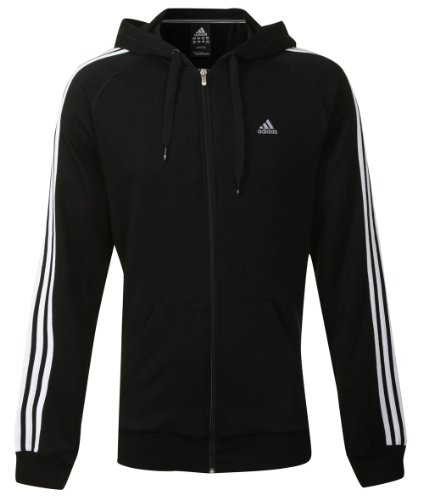 Adidas Mens CR Ess 3SFZ Black Zip Up Hooded Sweatshirt Hoody Size 2XL Tall