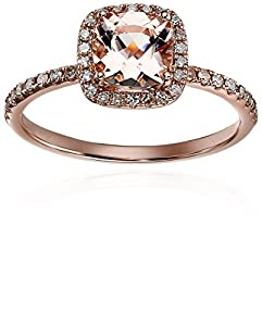 10k Rose Gold Morganite and Diamond Cushion Engagement Ring (1/4cttw), Size 7 by Amazon Collection
