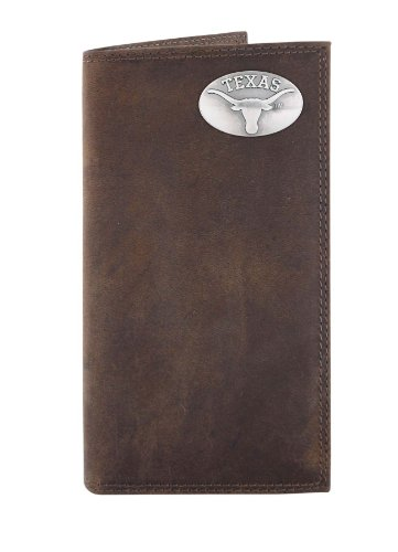 NCAA Texas Longhorns Light Brown Crazyhorse Leather Roper Concho Wallet, One Size at Amazon.com