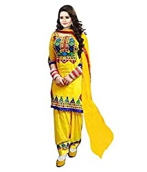 Shopeezo Yellow Colored Georgette Embroidered Semi Stitched Dress Material