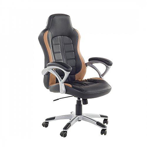 Sedia da ufficio in ecopelle nera e marrone chiara - Sedia da gaming - PRINCE