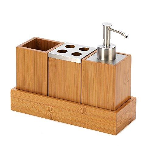 Eco Friendly Kyoto Bamboo Bath Set Trio Soap Pump Caddy Bath Trio