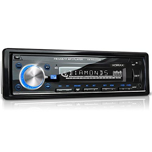 XOMAX-XM-RSU250B-Autoradio-mit-USB-Anschluss-bis-32-GB-Micro-SD-Kartenslot-bis-32-GB-fr-MP3-und-WMA-Beleuchtungsfarbe-blau-AUX-IN-Verkrzte-Einbautiefe-Single-DIN-1-DIN-Standard-Einbaugre-inkl-Einbaura