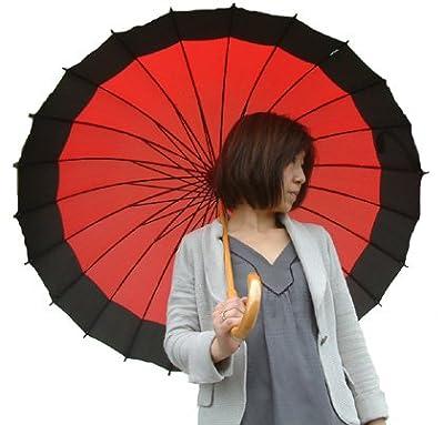 新色!!24本骨傘 蛇の目風 和傘新色【かさ・カサ・パラソル・傘・レインコート】 赤