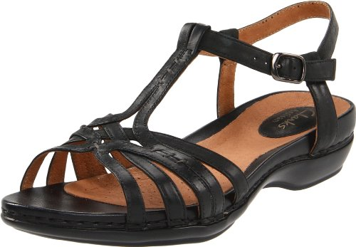Clarks Women's Sennett Harmony T-Strap Sandal,Black Leather,8.5 M US, Shoes Direct