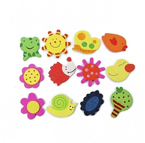 24Pcs Colorful Kids Wood Cartoon Fridge Magnet Educational Toy (Wood Fridge compare prices)