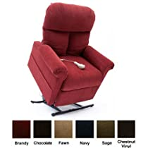 Hot Sale Mega Motion Lift Chair Easy Comfort Recliner LC-100 Infinite Position Rising Electric Power Chaise Lounger - Brandy Red Color Fabric