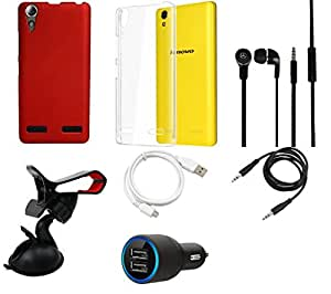 NIROSHA Cover Car Charger Headphone / Hands Free USB Cable Car Holder for Lenovo A6000 - Combo