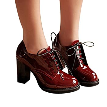 Susanny Women's Vintage Patent Leather Lace Up Dress Pumps Chunky High heel Oxford Shoes