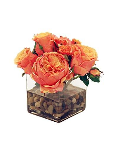 Winward Faux Rose Vase, Peach/Red
