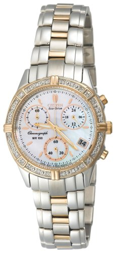 Citizen Two Tone Diamond Chronograph Ladies Watch - FB1184-55D